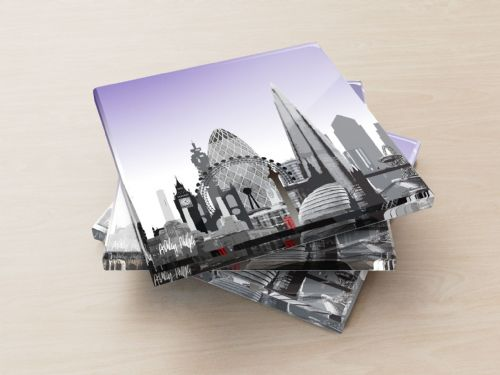 London Skyline Purple - Glass Coasters